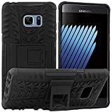 Mohanita Version D2.0 Dual Layer Armor Kick Stand Shockproof Defender Hard Cover Case Compatible withr Samsung Galaxy Note 7 (Jet Black)