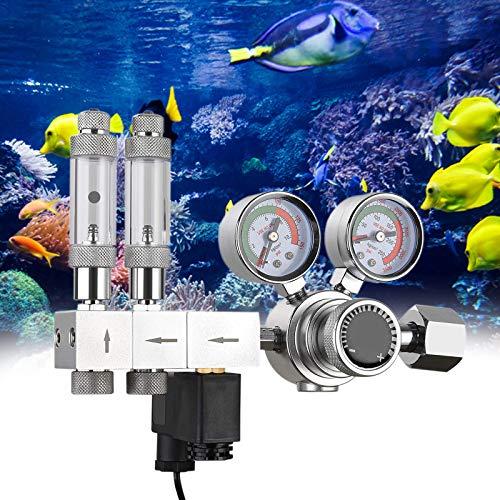 AYYDS CO2 Druckminderer Aquarium Zweistufiger Regler Einstellbarer Ausgangsdruck mit Gleichstrommagnet und integriertem hochpräzisen Nadelventil und Blasenzähler W21.8 Interface