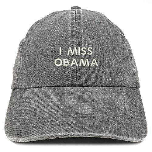 Trendy Apparel Shop I Miss Obama Embroidered Washed Low Profile Cap - Black