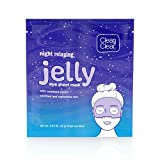 Clean & Clear Night Relaxing and Hydrating Jelly Eye Hydrogel Mask with Seaweed Extract, Non-Comedogenic & Alcohol-Free, 0.63 oz, 1 Count(Pack of 12)