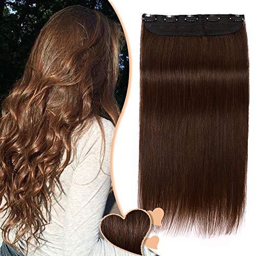 Extension a Clip Cheveux Naturel Type Epais - Remy Human Hair - #4 MARRON CHOCOLAT - Une Seule Bande avec 5 Clips (45CM 90G)
