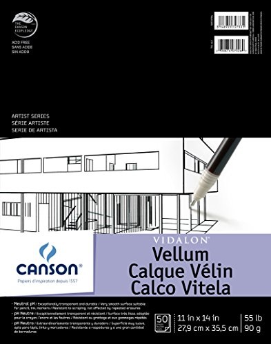 Canson Artist Series Vidalon Vellum Paper Pad, Translucent and Acid Free for Pencil, Ink and Markers, Fold Over, 55 Pound, 11 x 14 Inch, 50 Sheets