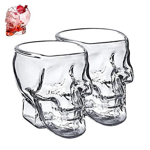 WANGIRL Elegante 2 Piezas Skull Vasos de Chupito 200ML Diseño de Calavera Gótica Vaso de Cristal Transparente con Diseño de Calavera Idea de Regalo para Whisky Vodka o Vino Favorito Único
