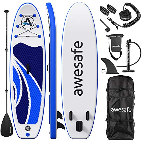 awesafe Inflatable Stand Up Paddle Board with Premium SUP/ISUP Accessories Including Backpack, Bottom Fin for Paddling, Paddle, Non-Slip Deck, Hand Pump, Leash (Blue)