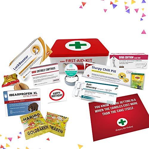 Geburtstagsgeschenk | Erste Hilfe Set Geschenk-Box, witziger Sanikasten | 9-teilig | Scherzartikel zum Geburtstag (Englisch)