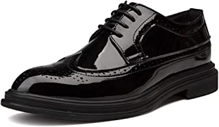 2019 Mens New Lace-up Flats Men's Casual Simple British Style Fashion Oxford Carved Comfortable Patent Leather Brogue Shoes