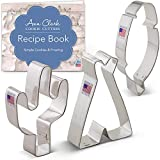 Ann Clark Cookie Cutters Juego de 3 cortadores de galletas salvaje Oeste con libro de recetas, cactus, tipi y pluma