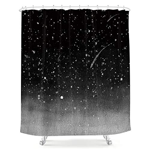 LIGHTINHOME Night Starry Sky Shower Curtain Stars Fantasy Galaxy Universe 60Wx72H Black Cosmic Fabric Waterproof Home Bathtub Decor 12 Pack Plastic Hooks