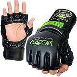 BeSmart Rex Leder Gel Tech MMA Grappling Handschuhe Kampfsport Boxsack Training H, Herren, grün, Größe S