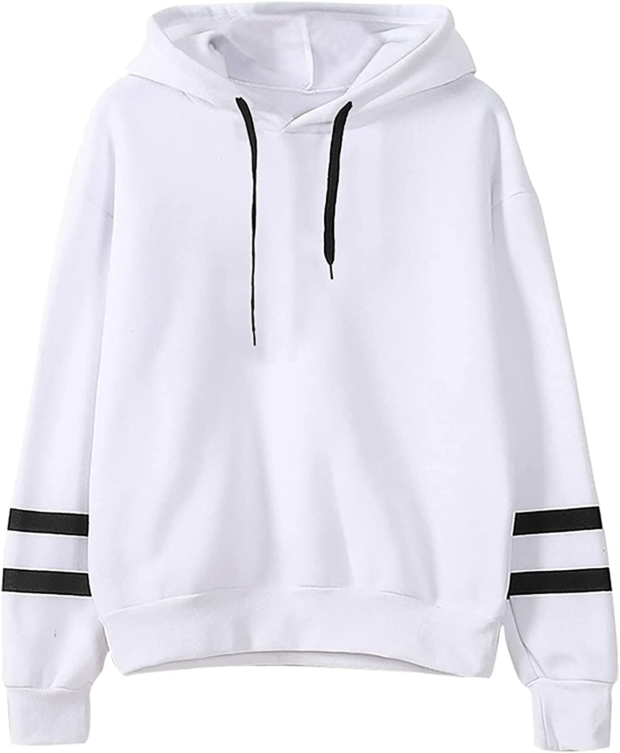 Fashion Women Casual Hooded Slim-fit Double Horizontal Bars Sweater Coat Summer Autumn