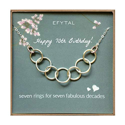 7 Rings for 7 Decades Sterling Silver Necklace