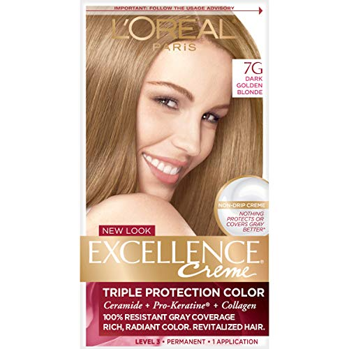 L'Oreal Paris Excellence Creme Permanent Hair Color, 7G Dark Golden Blonde, 100% Gray Coverage Hair Dye, Pack of 1