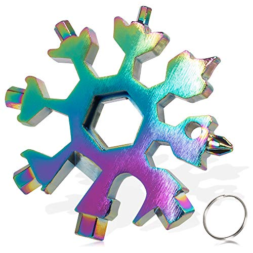 18 in 1 Schneeflocken Multitool, Edelstahl Multifunktionswerkzeug, Sechskantschlüssel, Schraubendreher, Inbusschlüssel, Flaschenöffner, bestes EDC Werkzeug, Geschenk für Weihnachten (Mehrfarbig)