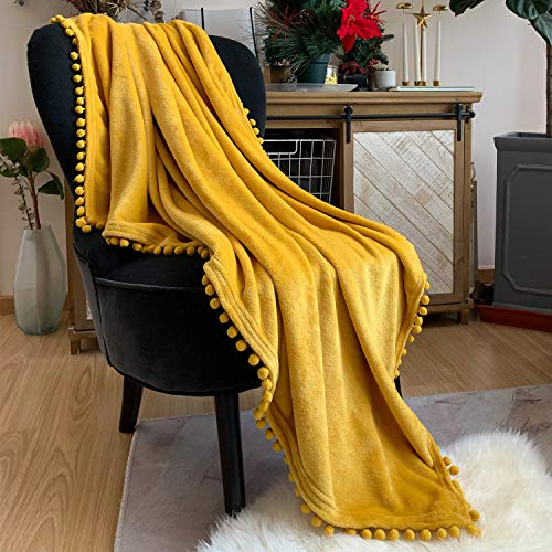 LOMAO Flannel Blanket with Pompom Fringe Lightweight Cozy Bed Blanket Soft Throw Blanket fit Couch Sofa Suitable for All Season (Mustard Yellow, 30''x 40'')