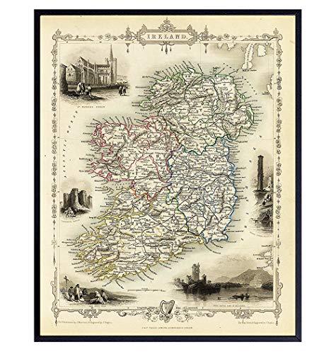 Irish Wall Art - Map of Ireland - Irish Home Decor - Irish Gifts - Vintage Retro Antique Style Irish Wall Decor - Celtic Wall Decor Poster Print