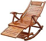 CAJOLG Tumbona Plegable Patio, Silla Mecedora reclinable, con reposapiés telescópico y Masaje de pie Rodillo de bambú de bambú, Siesta, Siesta, sillón, sillón,Compacta
