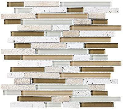 Bliss Bamboo Stone and Glass Linear Mosaic Tiles