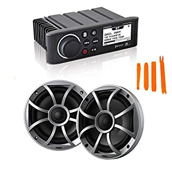 Fusion MS-RA70N Marine AM/FM/BT/NEMA2000 Stereo with 1 Pair Wet Sounds Recon 6-S High Output 6.5  Marine Coaxial Speakers Silver Grill