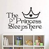 Moda pegatinas de pared creativas princesa está durmiendo aquí S habitación de los niños dormitorio arte de la pared pegatinas papel tapiz accesorios 34 * 22Cm