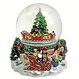 ARTE DEGLI ARGENTI Carillon Meccanico Natale con Sfera in Vetro Cm.10diam e Treno Trenino ed Albero Che GIRANO Melodia Natalizia Jingle Bells 59133