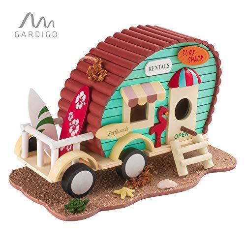 Gardigo Vogelhaus Wohnwagen L Dekoratives Vogelhäuschen für Garten, Terrasse oder Balkon I Nistkasten zum aufhängen, für Kleinvögel