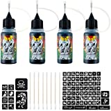 TinkTac Temporary Tattoo Kit, Small-bottled Freehand Ink in Four Colors (Black/Teal/Brown/ Red), 79 pcs Tattoo Stencils, Fake Tattoos, Henna Tattoo Kit Alternative