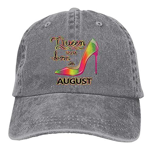 was Born in August Gradient High Heel Design Sombreros Algodón Lavable Gorras de béisbol ajustables para Hombre Mujer Gris
