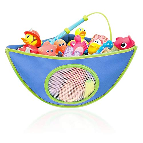 Baby Bath Toys Organiser, Toy Hammock Storage Corner Bag with 4 Adjustable Heavy Duty Lock Suction Cups, Portable Assorted Colour Miniature Animal Holder for 1-5 Years Children Babies Kids (Blue)