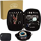 Lily & Drew Travel Jewelry Storage Carrying Case Jewelry Organizer with Removable Pouch, in Gift Box (V1B Black)