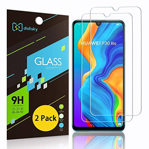 Didisky Cristal Templado Protector de Pantalla para Huawei P30 Lite, [Toque Suave] Fácil de Limpiar, 9H Dureza, Fácil de Instalar, [2-Unidades]