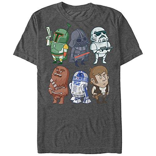 Star Wars Men's Doodles Graphic T-Shirt, Charcoal Heather, 3XL