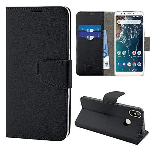 N Newtop Funda compatible para Xiaomi Mi A2 Lite, HQ Lateral Funda Libro Flip Cierre Magnético Billetera Simil Cuero Stand (Negro)
