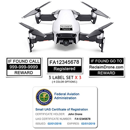 Mavic Air - FAA Drone Identification Bundle - Labels (3 Sets of 3) + FAA UAS Registration ID Card for Hobbyist Pilots