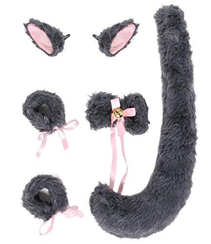 JustinCostume Fox Cosplay Set Tail Ears Neckwear Bracelet, Gray