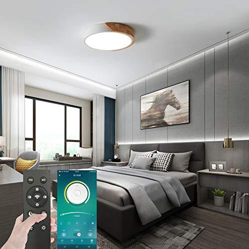 Lámpara LED de techo de 30 W, totalmente regulable con mando a distancia, diámetro de 40 cm, moderna lámpara redonda para comedor, salón, dormitorio, oficina