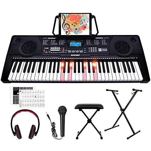 Souidmy C-L260 teclado eléctrico de iniciación rápida de 61 teclas, 3 tipos de lecciones de aprendizaje con teclas iluminadas a tamaño completo y pantalla LCD avanzada para todo tipo de principiantes