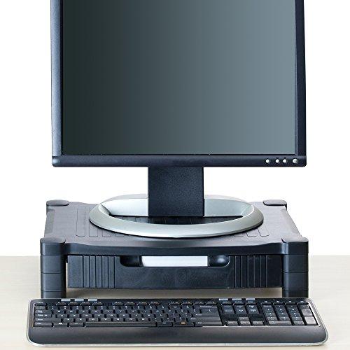 Mind Reader Monitor Stand Riser with Drawer Storage for Computer, Laptop, Desk, iMac, Dell, HP, Printer, Black