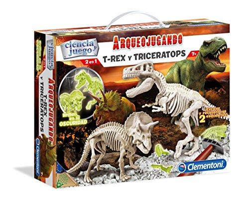 Clementoni-55054 - Arqueojugando T-Rex y Triceratops fosforescente - juego científico para excavar y montar dinosaurios a partir de 7 años