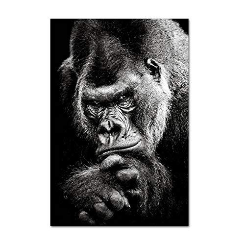 TYLPK Leinwandplakate Affentierdrucke Schwarz Weiß Abstraktes Kunstwerk Kunstgemälde Nordisches Wandbild für Wohnkultur 60x90cm (23,6x35,4 Zoll) Kein Rahmen