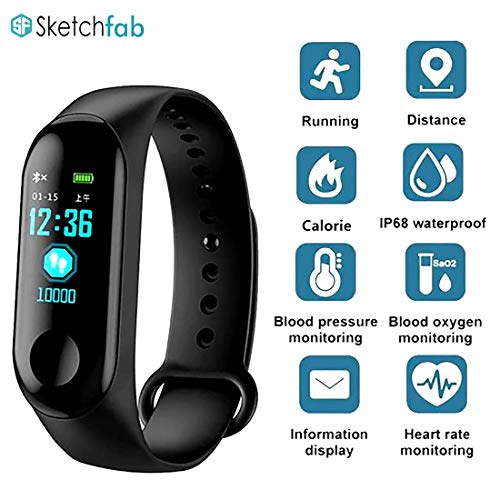 Sketchfab Intelligence Bluetooth Smart Watch Health Wrist Band/Activity Tracker/Smart Fitness Band Compatible for All Androids and iOS Phone/Tablet (Black)