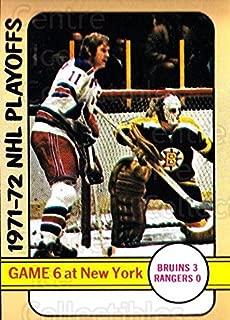 (CI) Boston Bruins, New York Rangers, Gerry Cheevers, Vic Hadfield Hockey Card 1972-73 Topps 7 Boston Bruins, New York Rangers, Gerry Cheevers, Vic Hadfield
