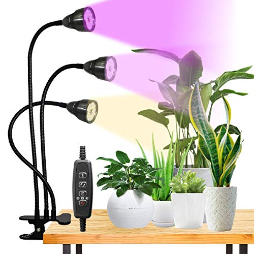 Plant Grow Light,Juhefa Tri-Head Desk Clip Plant Light Full Spectrum with White Red Blue Bulbs for Indoor Plants Seedlings Seed Starting,3 Modes & 10 Dimmable,Timer 3 9 12Hrs