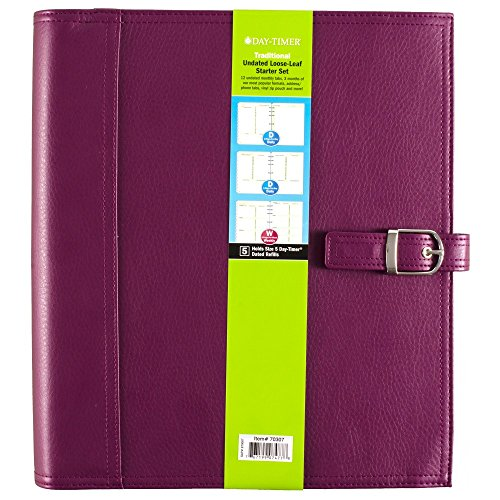Day-Timer Undated Loose-Leaf Starter Set, Size 5, Traditional, 8.5 x 11 Inch Page Size, Purple (70307)