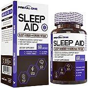 PRIMAL ONE Sleep AID - Non Habit Forming Sleep Support & Adrenal Fatigue Supplement - Stress Relief, Better Mood & Relaxation w/Melatonin, Lemon Balm, More - 60 Natural Veggie Sleeping Pills
