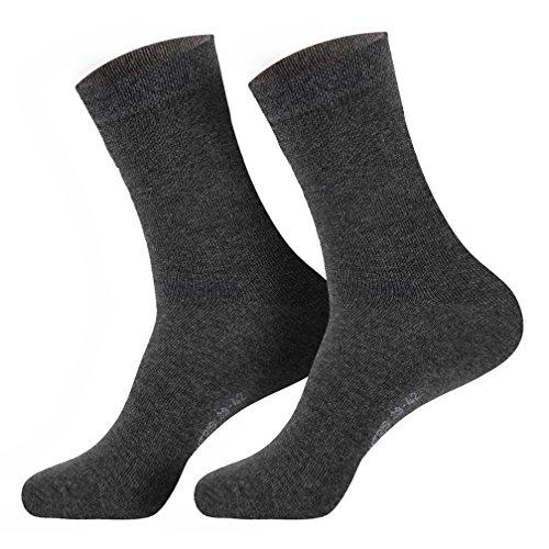 6 Paar Damen Komfort Socken mit extra weichen & breitem Bund ohne Gummi aus hochwertiger Baumwolle (schwarz, weiss, beige, braun, marine), 35/38, Anthrazit