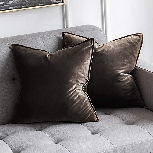 MIULEE 2er Set Samt Kissenbezug Flansch Kissenhülle Dekorative Dekokissen mit Verstecktem Reißverschluss Sofa Schlafzimmer Auto 16 x 16 Inch 40 x 40 cm Dunkle Taupe