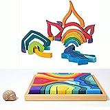 MODERNGENIC 'Four Elements' Rainbow X-Large Blocks Wooden Toys for Kids, Geometric Building Blocks, Volcano/House Educational Set