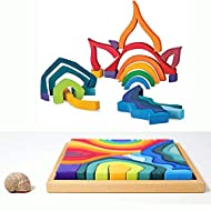 MODERNGENIC 'Four Elements' Rainbow X-Large Rainbow Blocks, Wooden Toys for Kids, Geometric Building Puzzle, Volcano/House Educational Set