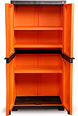 Cello Novelty Big Plastic Cupboard with 3 Shelves (Orange and Brown)