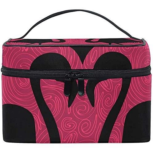 Cosmetic Bag, Flamingos Love Travel Makeup Organizer Bag Cosmetic Case Portable Train Case for Women Girls